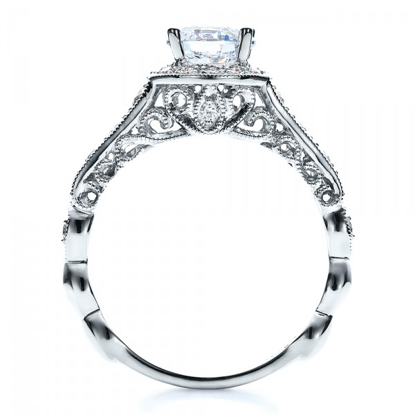 Engagement Ring Tapered Diamond Side Stones - Vanna K - Finger Through View