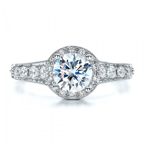 Engagement Ring Tapered Diamond Side Stones - Vanna K - Top View