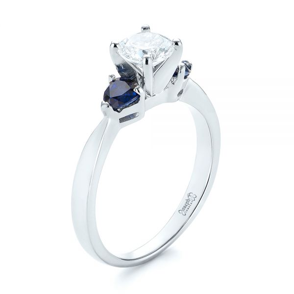 Three Stone Trillion Blue Sapphire and Diamond Engagement Ring