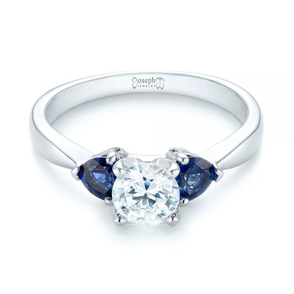 Three Stone Trillion Blue Sapphire and Diamond Engagement Ring - Laying View