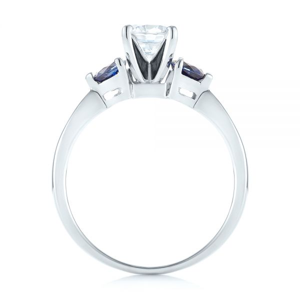 Three Stone Trillion Blue Sapphire and Diamond Engagement Ring - Finger Through View