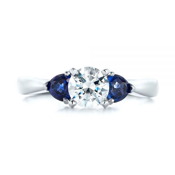 Three Stone Trillion Blue Sapphire and Diamond Engagement Ring - Top View