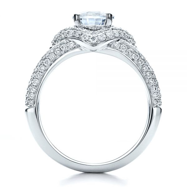 18k White Gold Engagement Ring With Eternity Band - Front View -