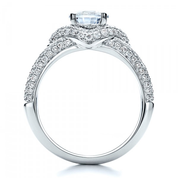 Engagement Ring with Eternity Band - Finger Through View