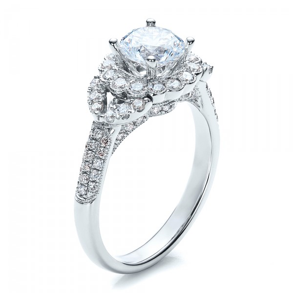 Engagement Ring with Halo, Pave, Milgrain - Vanna K