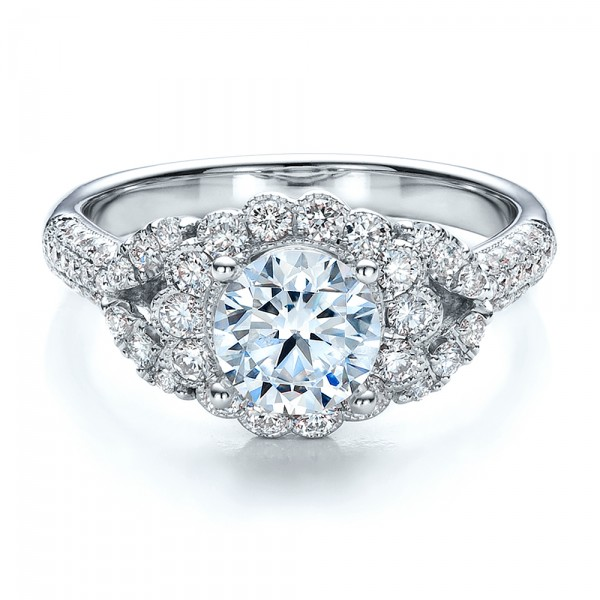 Engagement Ring with Halo, Pave, Milgrain - Vanna K - Laying View