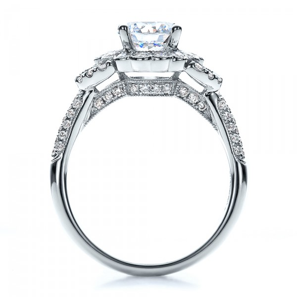 Engagement Ring with Halo, Pave, Milgrain - Vanna K - Finger Through View