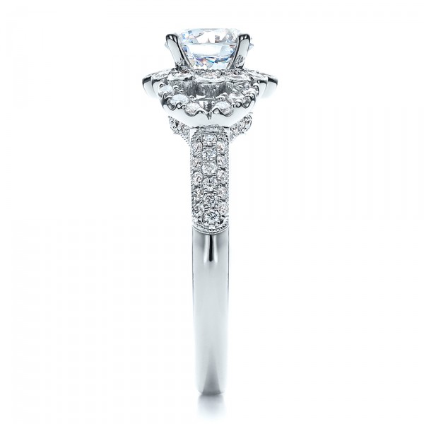 Engagement Ring with Halo, Pave, Milgrain - Vanna K - Side View
