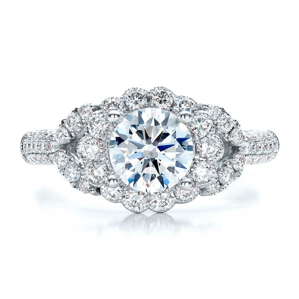 Engagement Ring with Halo, Pave, Milgrain - Vanna K - Top View