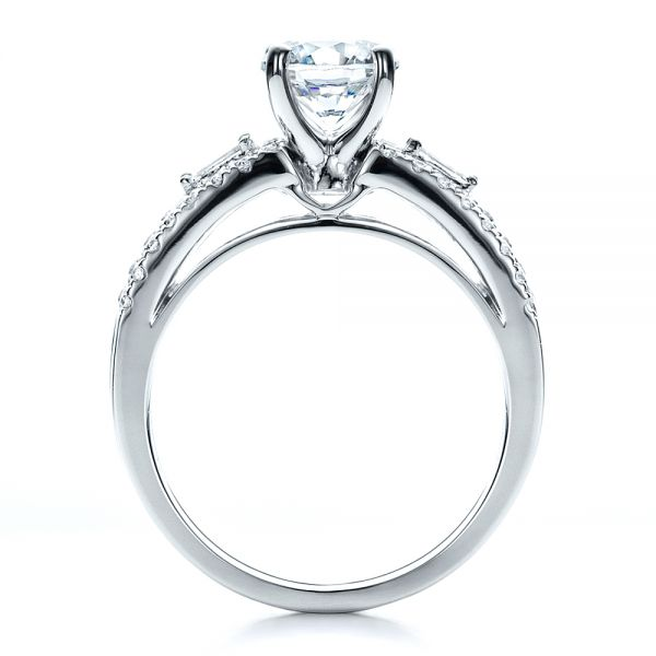 18k White Gold Engagement Ring With Matching Eternity Band - Front View -