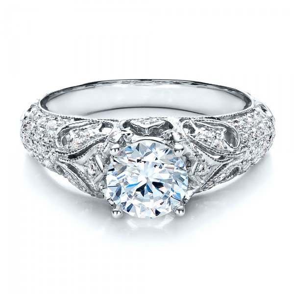 Engagement Ring with Micro Pave - Milgrain - Filigree - Hand Engraved - Vanna K - Laying View