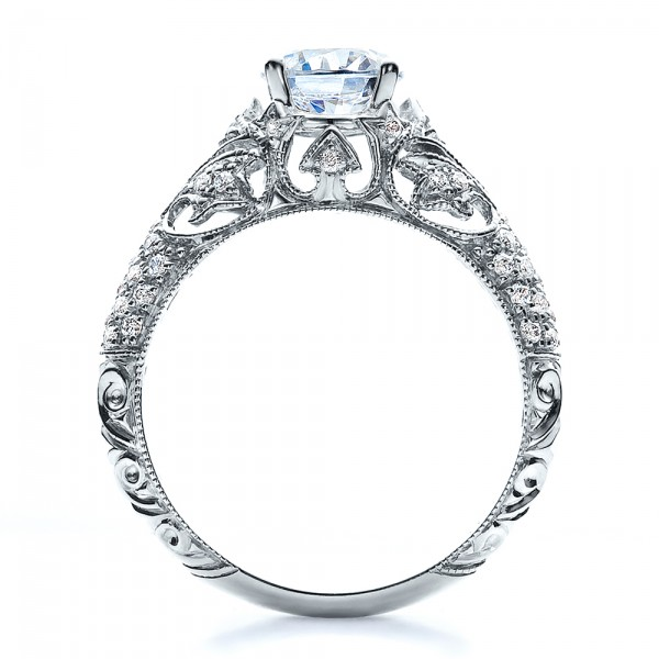 engagement ring with micro pave milgrain filigree hand engraved vanna k - Filigree Wedding Rings