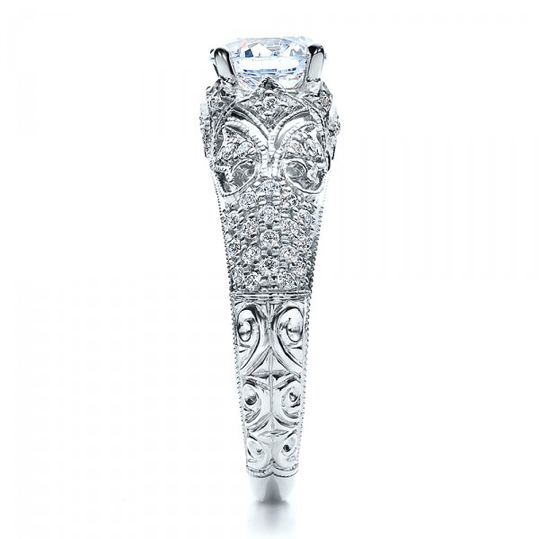 Engagement Ring with Micro Pave - Milgrain - Filigree - Hand Engraved - Vanna K - Side View