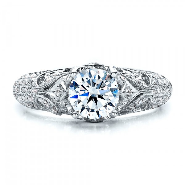 Engagement Ring with Micro Pave - Milgrain - Filigree - Hand Engraved - Vanna K - Top View