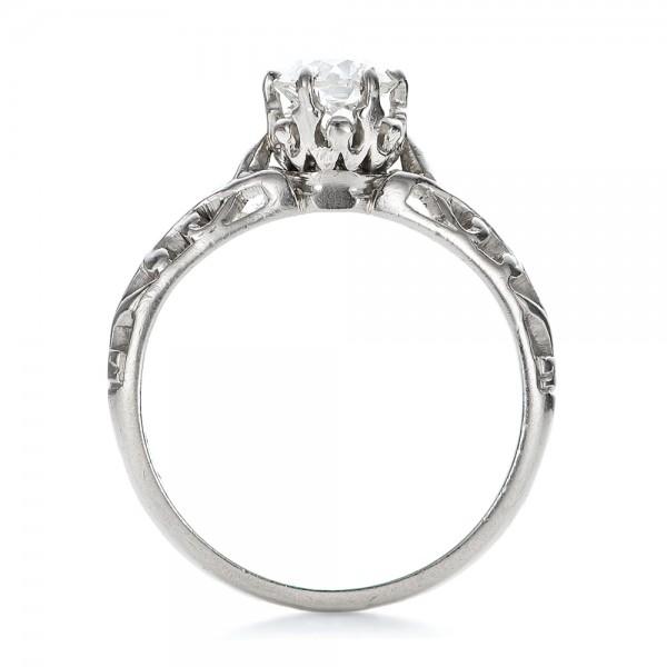 Estate Solitaire Diamond Edwardian Engagement Ring - Finger Through View