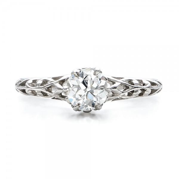 Estate Solitaire Diamond Edwardian Engagement Ring - Top View