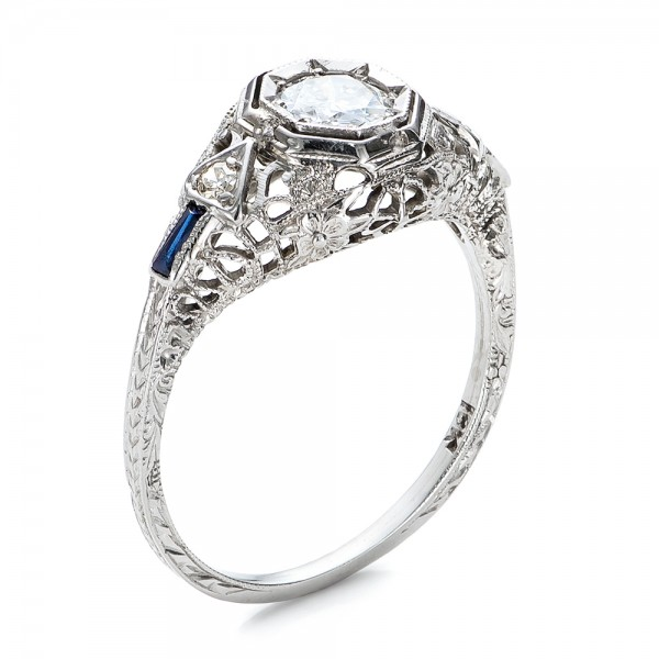 estate diamond and sapphire art deco engagement ring 100904 - Estate Wedding Rings