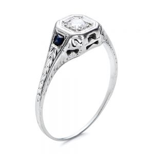 Estate Diamond and Sapphire Art Deco Engagement Ring - Image