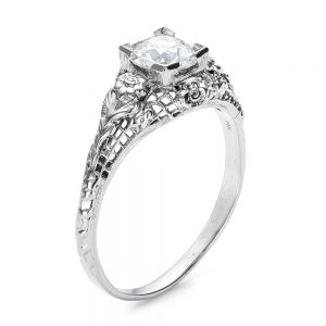 Estate Solitaire Diamond Art Deco Engagement Ring  - Image