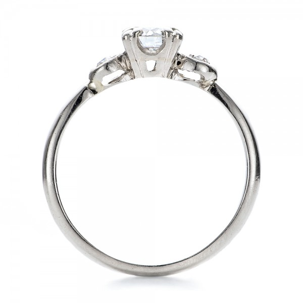 Estate Three Stone Diamond Engagement Ring - Finger Through View