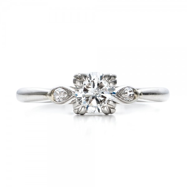 Estate Three Stone Diamond Engagement Ring - Top View
