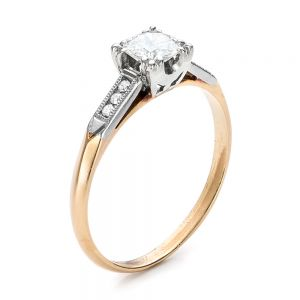 Estate Two-Tone Gold Diamond Engagement Ring - Image