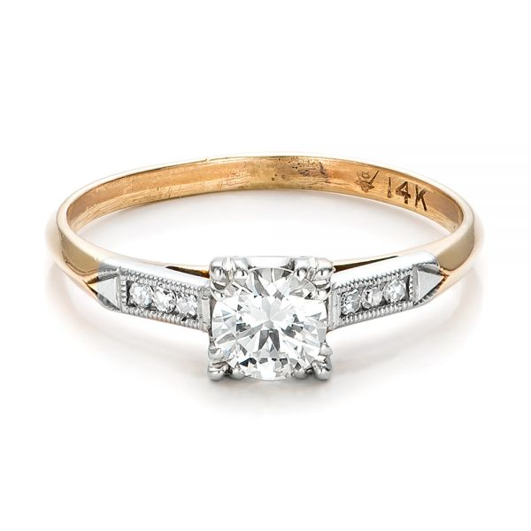Estate Two-tone Diamond Engagement Ring - Flat View -