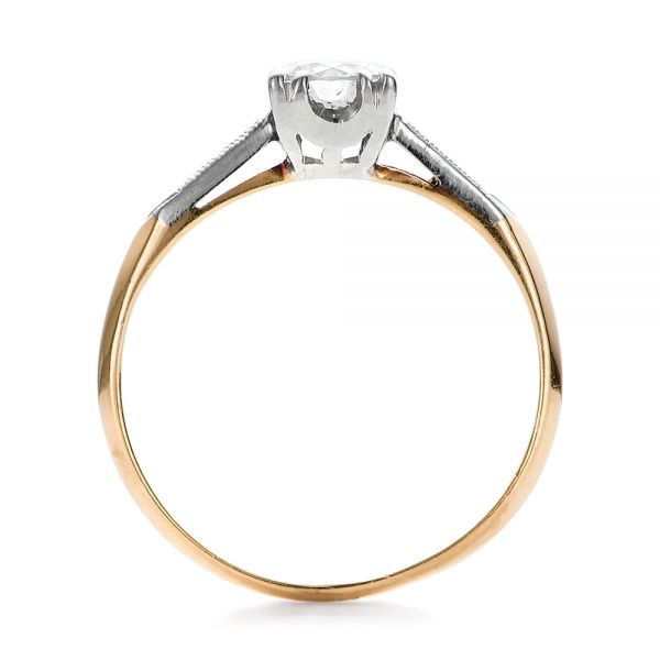 Estate Two-tone Diamond Engagement Ring - Front View -