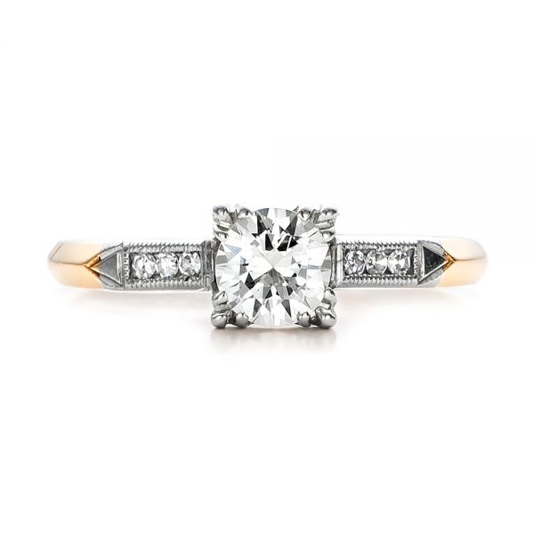 Estate Two-tone Diamond Engagement Ring - Top View -