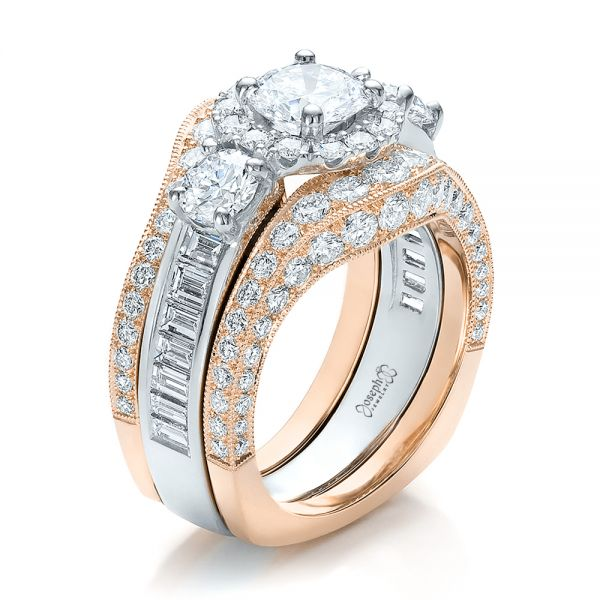 Estate Two-Tone Wedding and Engagement Ring Set - Image