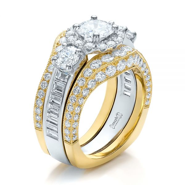 Estate Two-tone Wedding And Engagement Ring Set - Three-Quarter View -  100619