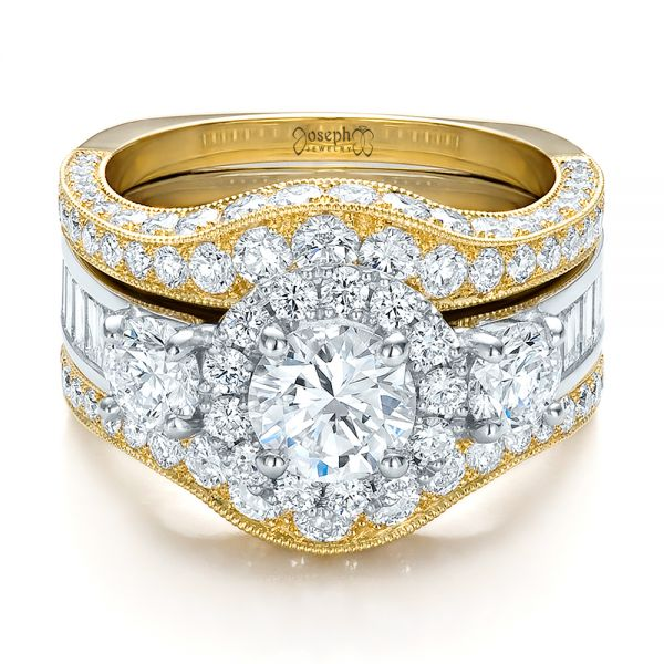 Estate Two-tone Wedding And Engagement Ring Set - Flat View -  100619