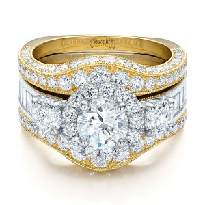 Estate Two-Tone Wedding and Engagement Ring Set