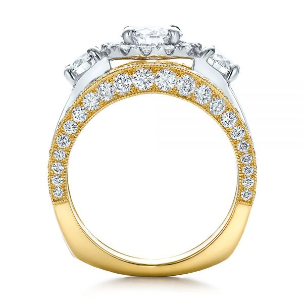 Estate Two-tone Wedding And Engagement Ring Set - Front View -  100619