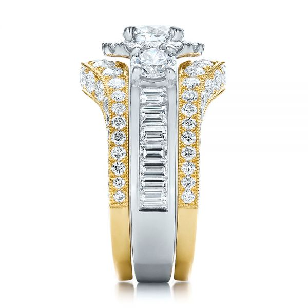 Estate Two-tone Wedding And Engagement Ring Set - Side View -  100619