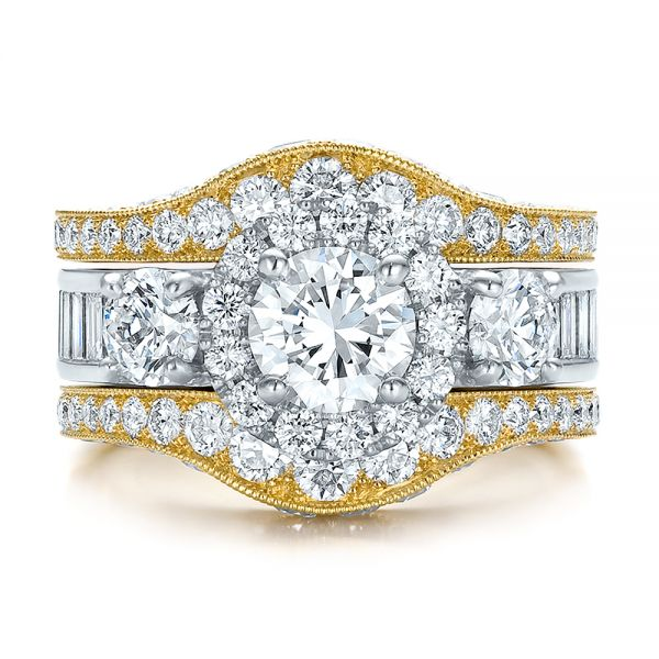 Estate Two-tone Wedding And Engagement Ring Set - Top View -  100619