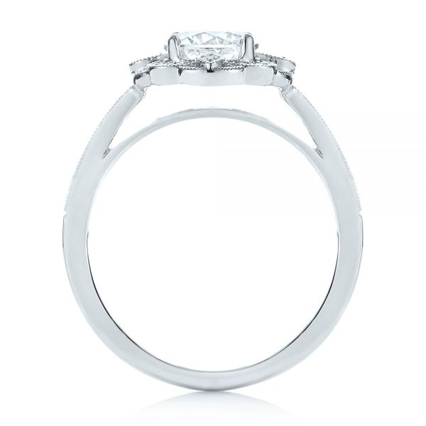14k White Gold 14k White Gold Fancy Halo Diamond Engagement Ring - Front View -