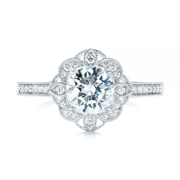 14k White Gold 14k White Gold Fancy Halo Diamond Engagement Ring - Top View -