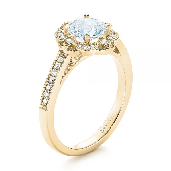 14k Yellow Gold 14k Yellow Gold Fancy Halo Diamond Engagement Ring - Three-Quarter View -
