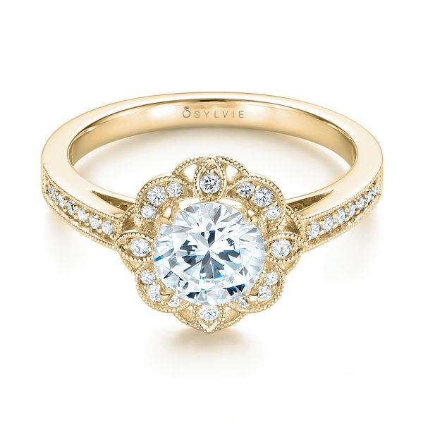 14k Yellow Gold 14k Yellow Gold Fancy Halo Diamond Engagement Ring - Flat View -