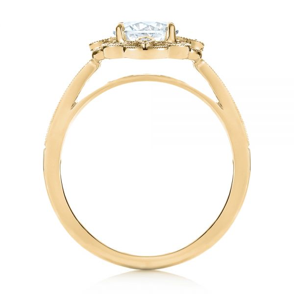 14k Yellow Gold 14k Yellow Gold Fancy Halo Diamond Engagement Ring - Front View -