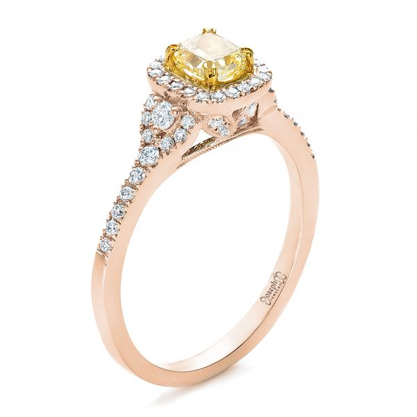 Fancy Yellow Diamond with Halo Engagement Ring - Image