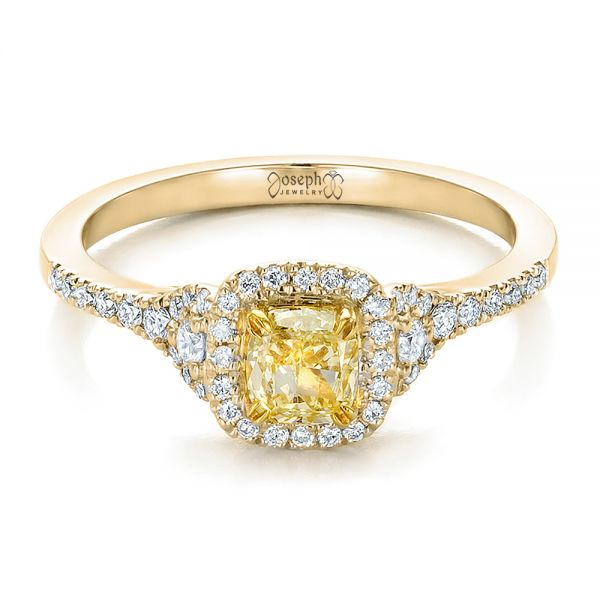 18k Yellow Gold And Platinum Fancy Yellow Diamond With Halo Engagement Ring 100564 Seattle Bellevue Joseph Jewelry