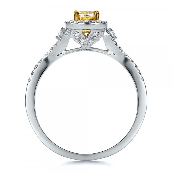 Fancy Yellow Diamond with Halo Engagement Ring - Finger Through View