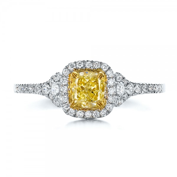 Fancy Yellow Diamond with Halo Engagement Ring - Top View