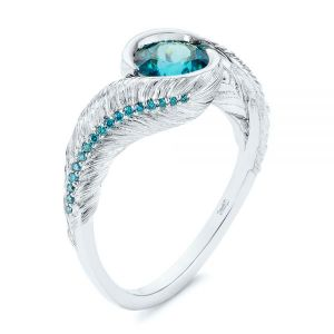 Feather Engraved Zircon and Blue Diamond Engagement Ring - Image