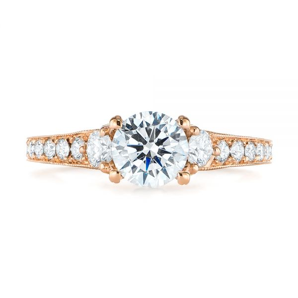Filigree Diamond Engagement Ring - Top View -  103896 - Thumbnail