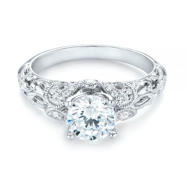 14k White Gold 14k White Gold Filigree Diamond Engagement Ring - Flat View -