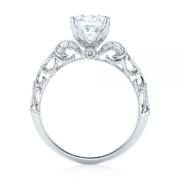 18k White Gold Filigree Diamond Engagement Ring - Front View -
