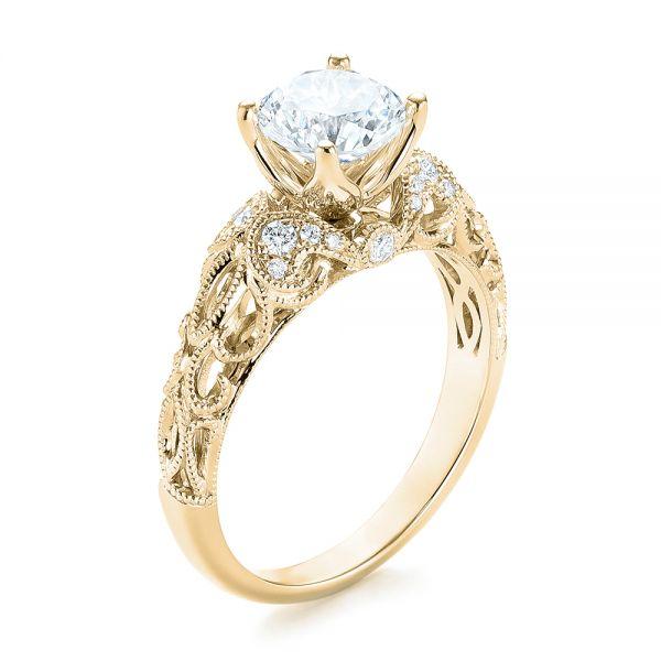 Engagement Rings Jewellery Quarter: 18k Yellow Gold Filigree Diamond Engagement Ring #103101